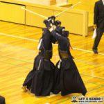 女子準決勝1、東奥義塾と桐蔭学園は大将戦となり、東奥・小松から桐蔭・北條がメン、コテを決めて2本勝ちしチームの勝利を決めた。