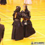 女子準決勝2、磐田東対尚絅は大将戦まで引き分け、尚絅大将・境が引きメンを決めて1本勝ち。