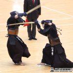 準々3、三股中学時代の同級生対決となった梅ヶ谷と田中芳(法政)の一戦は、延長で梅ヶ谷が面を決めて勝利。