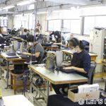 何十台ものミシン、職人は常時50名以上。防具の全てを製造できる日本唯一の工場。