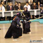 準々2、有働(國學院)が上段から小川の左コテを奪い準決勝進出。